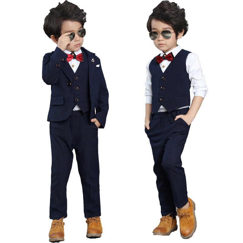 aacf09e73c87 Children Formal Wedding Dress Suits Sets Flower Boys Blazer Vest Pants 3PCS  Outfits Kids Tuxedo School