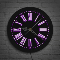 Modern Design Roman Numerals Vintage Wall Clock LED Backlight Luminous Roman Numbers Lighted Wall Clock Watch Bedroom Night Lamp