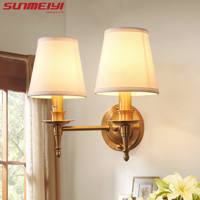 American Vintage Style Wall Lamp Indoor LED Modern Bedside Lamps for Bedroom E14 Lights Fixture