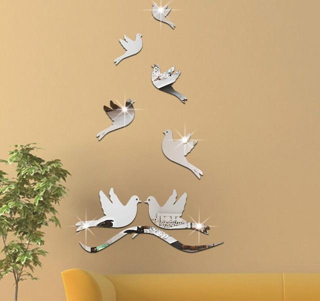 7pcs 3d acrylic flying bird pigeon solid crystal mirror wall