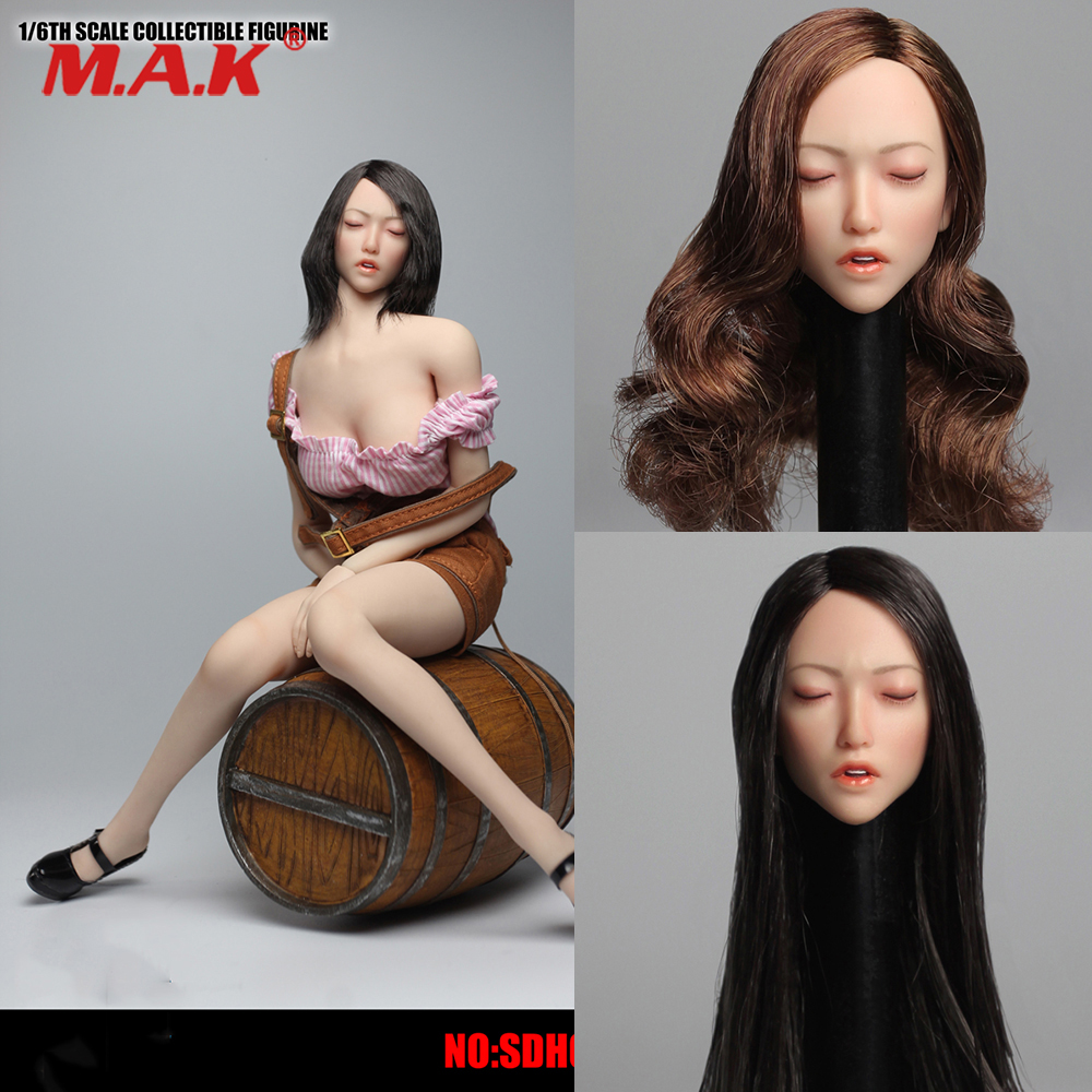 SDH009 1/6 Scale Asian Female Sexy Beauty Sleep Girl Head Sculpt with Closed Eyes Carving Model for 12 Pale Action Figure Body цена
