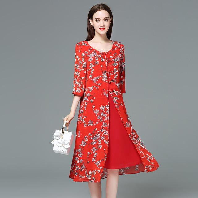 fb5e411989 2018 plus size women floral print chiffon dresses cheongsam design O neck  half sleeves spring autumn