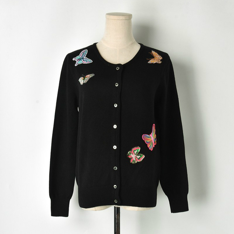 Boutique Women Embroidery Cardigans Cartoon Butterfly 2018 Autumn Winter Female Single Breasted Sweaters Knitted Coats High End