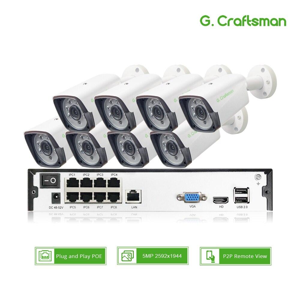 8ch 5MP POE zestaw H.265 System bezpieczeństwa CCTV do to16ch NVR na świeżym powietrzu wodoodporna kamera IP nadzoru Alarm wideo P2P G. rzemieślnik
