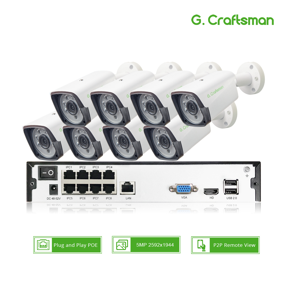 Sistema de Segurança CCTV 8ch POE Kit 5MP H.265 Up to16ch P2P NVR Câmera IP Alarme de Vigilância de Vídeo Ao Ar Livre À Prova D' Água G. artesão