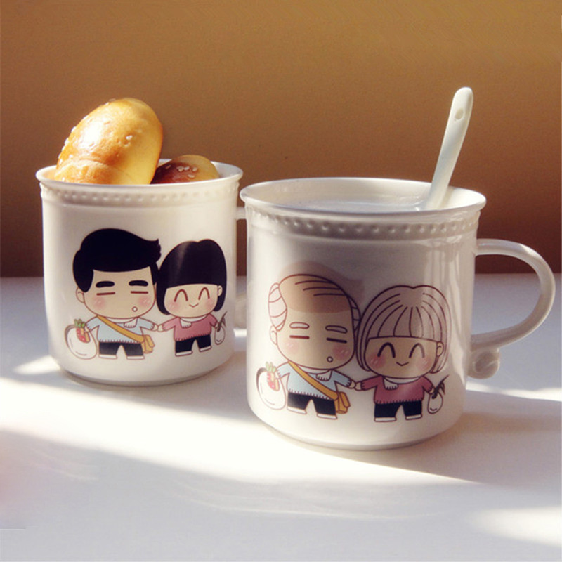 Magic Loving You Color Changing White Ceramic Mug Heat Sensitive Sublimation Milk Coffee Drinks Cup Copo with Spoon Couple Gifts