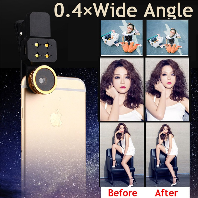 3in1 LED Flash light with Mobile Phone Lenses Wide Angle Macro Fish eye Lens For doogee x5 max x6 elephone s7 gooweel gionee m6