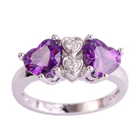 lingmei Free Shipping Elegant Purple Amethyst White Topaz 925 Silver Ring Women Gift Size 7 8 9 10 Jewelry For Party Wholesale