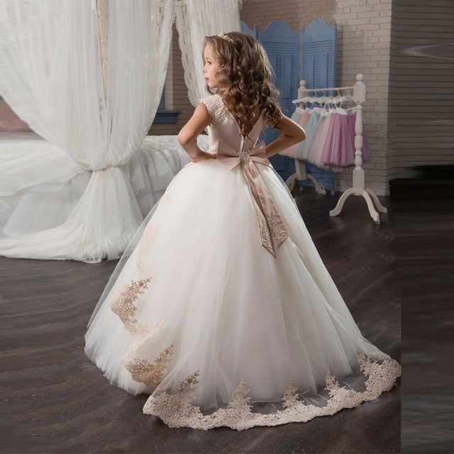 Элегантный для девочек в цветочек Платья для вечеринок с поясом Кружево Аппликации бальное платье для первого причастия для Обувь для девочек Дети Выпускные платья