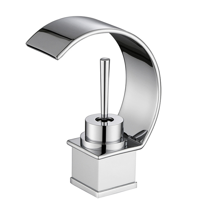 Newest Dual Handle One Hole Basin Mixer Tap Waterfall Spout Deck Mounted Bathroom Sink Faucet Brushed Nickle from MLFALLS led color changing brushed nickle basin faucet hot and cold water faucet waterfall spout dual handle tap