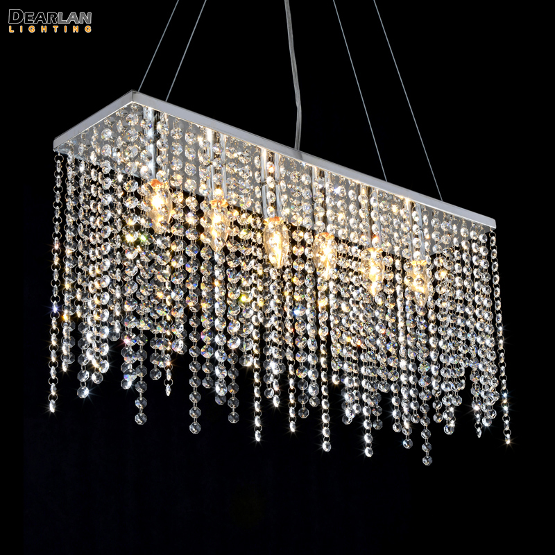 Contemporary Crystal Pendant Light Fixture Rectangle Crystal Hanging Drop Lamp Stainless Steel Pendant Lustre for Living room