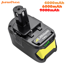 Powtree 18V 9000mAh Li-Ion P108 Battery For Ryobi Battery RB18L40 P2000 P310 For BIW180 L30 Rechargeable Battery NEW znter battery for ryobi 18v 6000mah p108 rb18l40 lithium ion rechargeable battery pack power tools battery ryobi one
