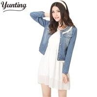 Denim Jacket Lace Jeans Coat Women O Neck Slim Long Sleeve Girls Overcoat All Match Clothing