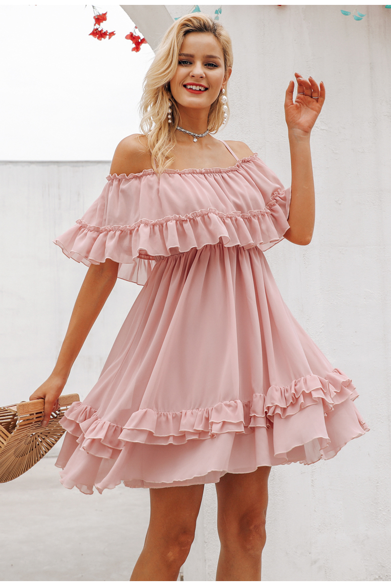 Simplee Elegant ruffle off shoulder women dress Spaghetti strap chiffon summer dresses Casual holiday female pink short sundress 7