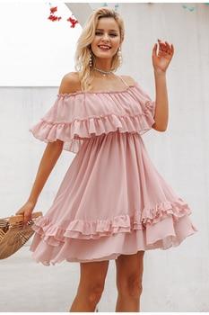 Boho Chic Ruffle Off the Shoulder Spaghetti Strap Dress