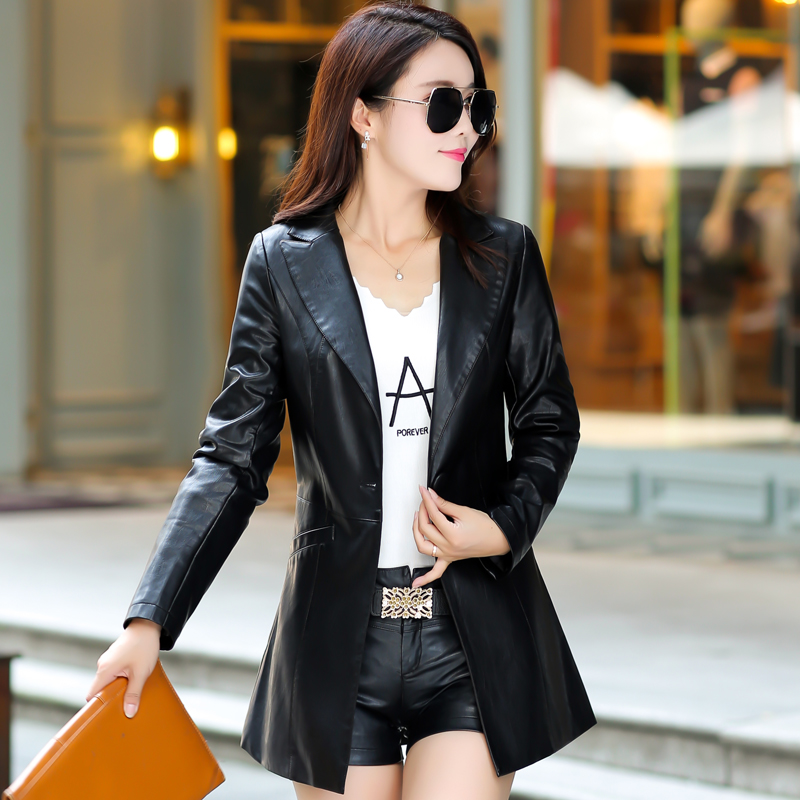 2018 Brand New Spring Style Women Red   Leather   Jacket Long sleeve Fashion Slim Faux   Leather   Trench Coats Outwears Female Clothing