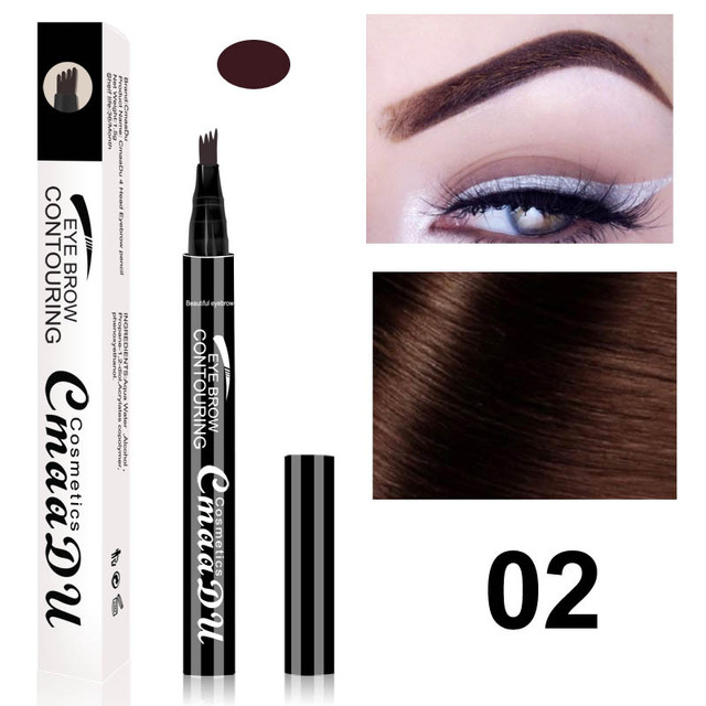Cmaadu brand makeup liquid eyebrow pencil waterproof long lasting 4 fork tips black coffee microblading eyebrow tattoo pen HF117 5