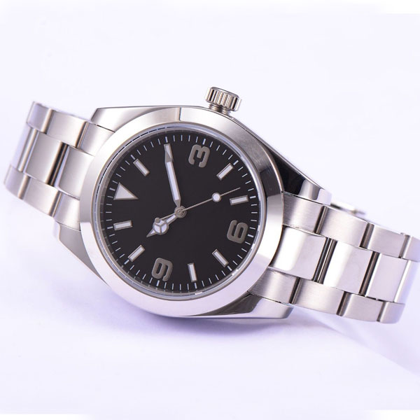 Parnis 40mm black dial luminous hands full stainless steel automatic movement Mens Watch