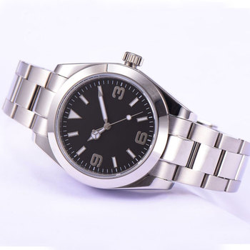 Parnis 40mm black dial luminous hands full stainless steel automatic movement Men's Watch