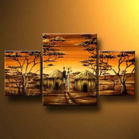 3pcs Hand Painted Canvas Painting African Village II Modern Canvas Art Wall Decor Landscape Oil Painting Wall Art