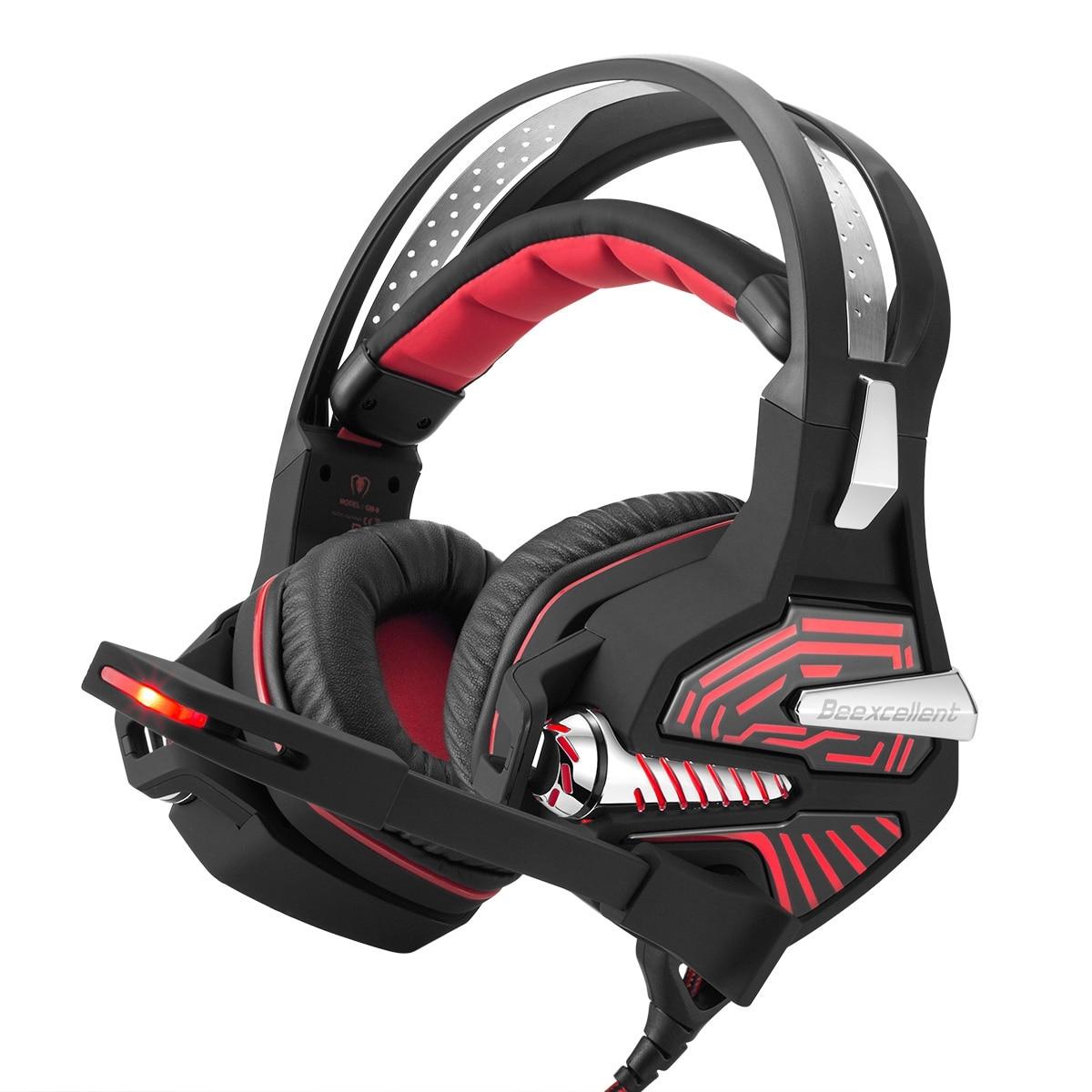 Beexcellent casque de jeu USB GM-9 7.1 Surround basse son sur l'oreille casque avec Microphone, lumières de LED et contrôle du Volume (R