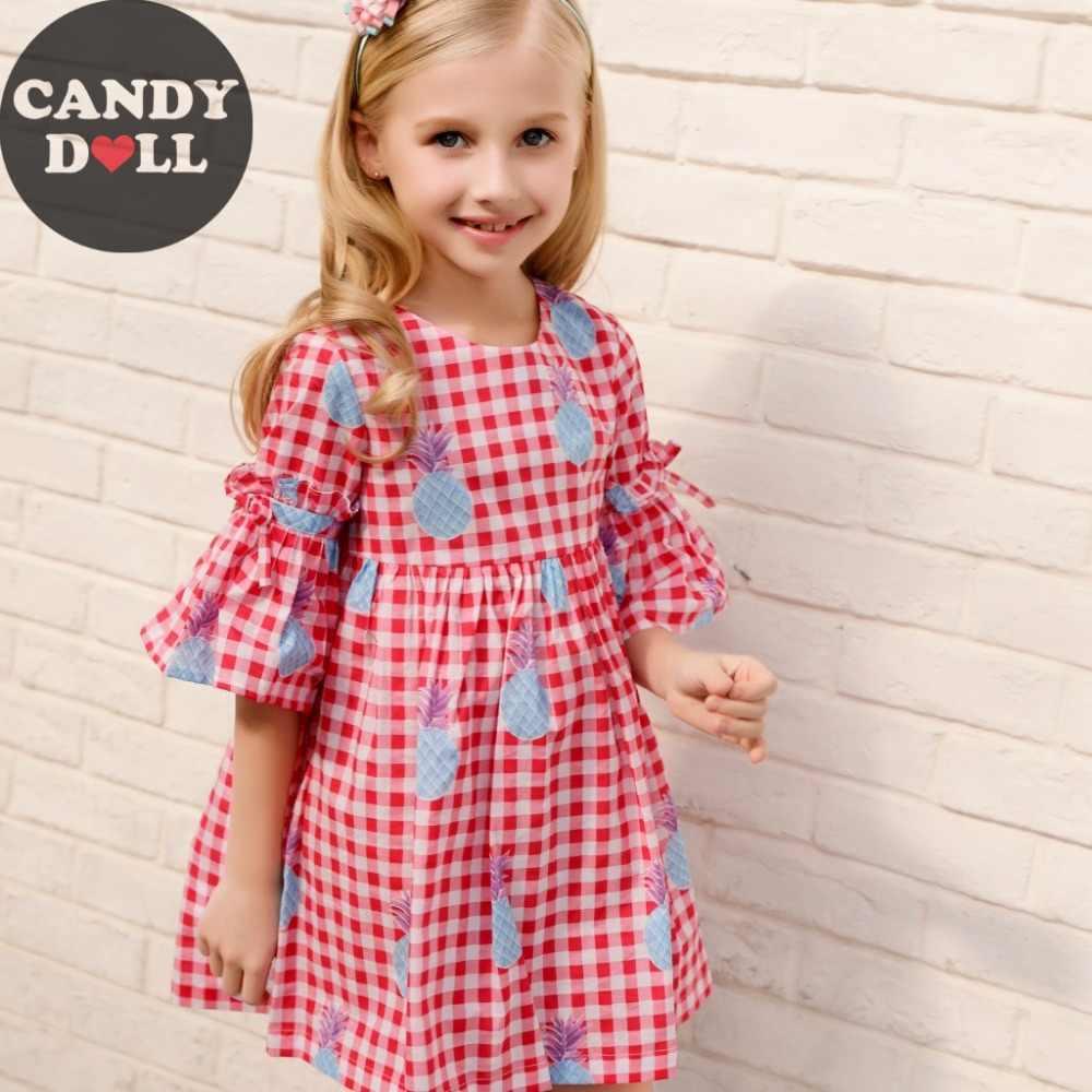CANDYDOLL/летние платья для девочек детское Хлопковое платье в клетку воздухопроницаемая комфортная обувь детская с фруктовым принтом Vestidos возраст 3-10yrs