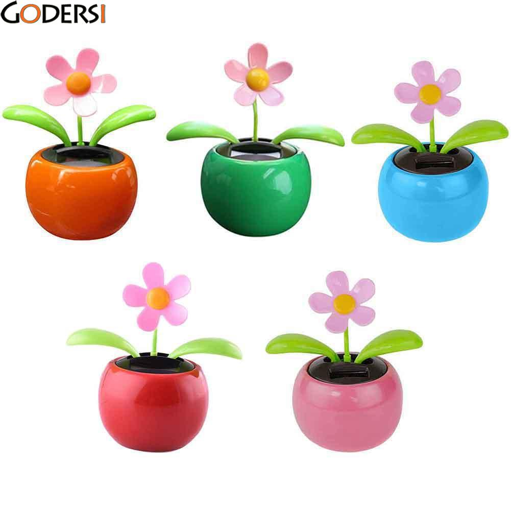 2e1f5c55e20930 Godersi Plastic Crafts Car Flowerpot Solar Power Flip Flap Flower Plant  Swing Auto Dance Toy Car
