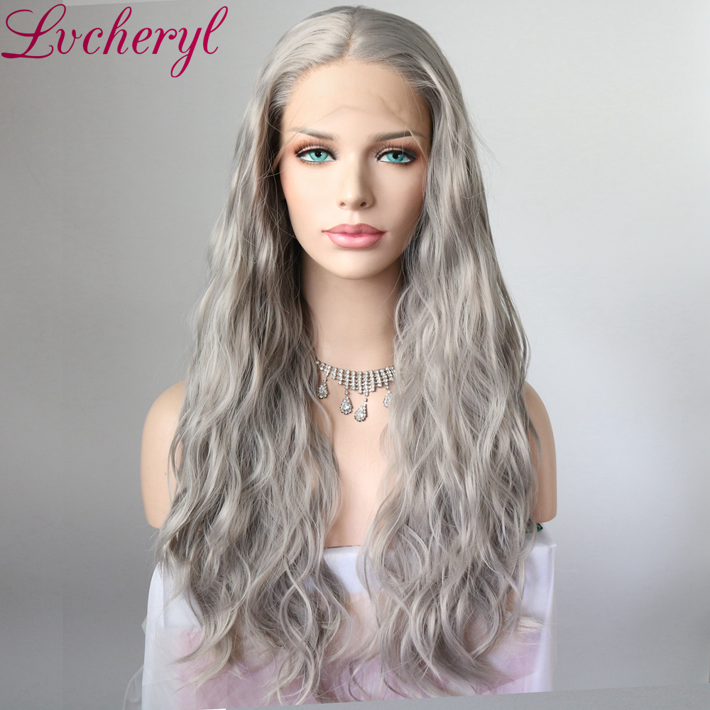 Lvcheryl Natural Long Grey Color Synthetic Hair Wigs Party Wigs Heat Resistant Hair Lace Front Wigs