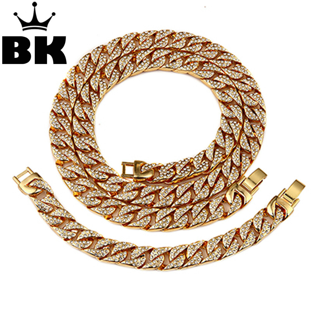 Mens Thick Miami Cuban Link Chain Set Alloy Material Iced Out Rhinestone Cuban chain Necklace 30inch & cuban bracelet 8inch 7 rose gold black color unique new cuban link chain design cool mens jewlery hiphop rock wide cuban link chain bracelet bangle