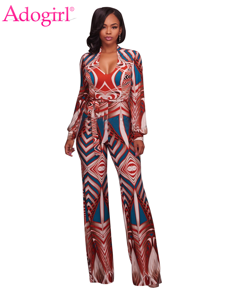 Adogirl 2017 Autumn Fashion Print Loose Jumpsuits Sexy Deep V Neck Long Sleeve Sashes Wide Leg Pants Plus Size Women Rompers