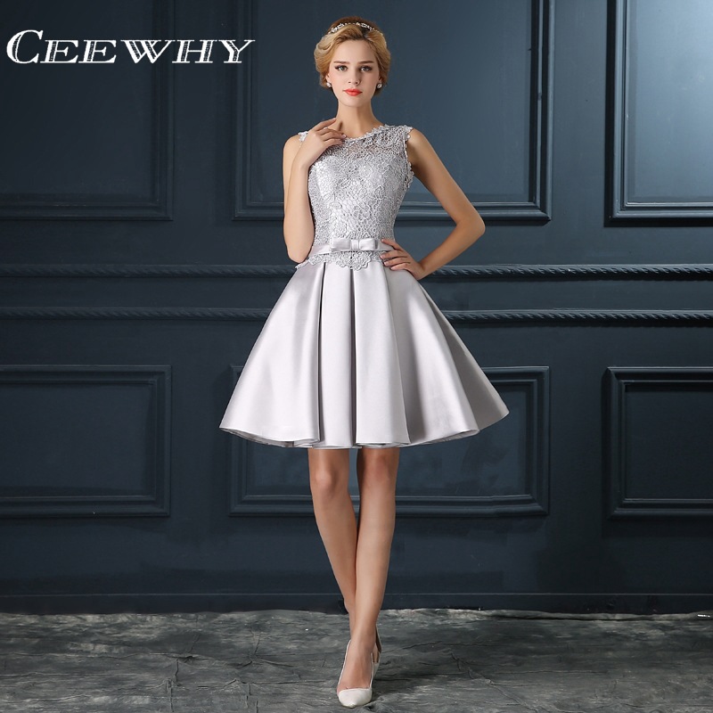 CEEWHY Gray Backless Women Formal Gowns Short Party   Dresses   Knee Length Elegant   Cocktail     Dresses   Embroidery Homecoming   Dress