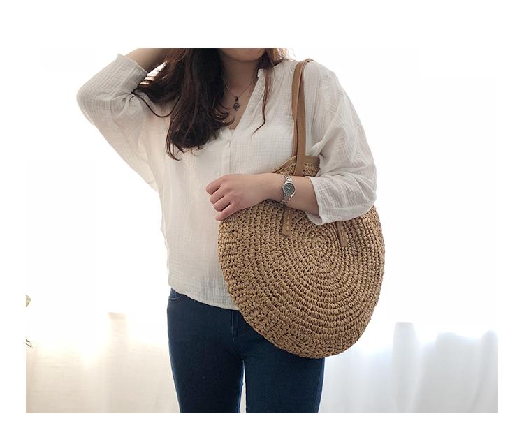 Round Straw Beach Bag Vintage Handmade Woven Shoulder Bag Raffia circle Rattan bags Bohemian Summer Vacation Casual Bags 10