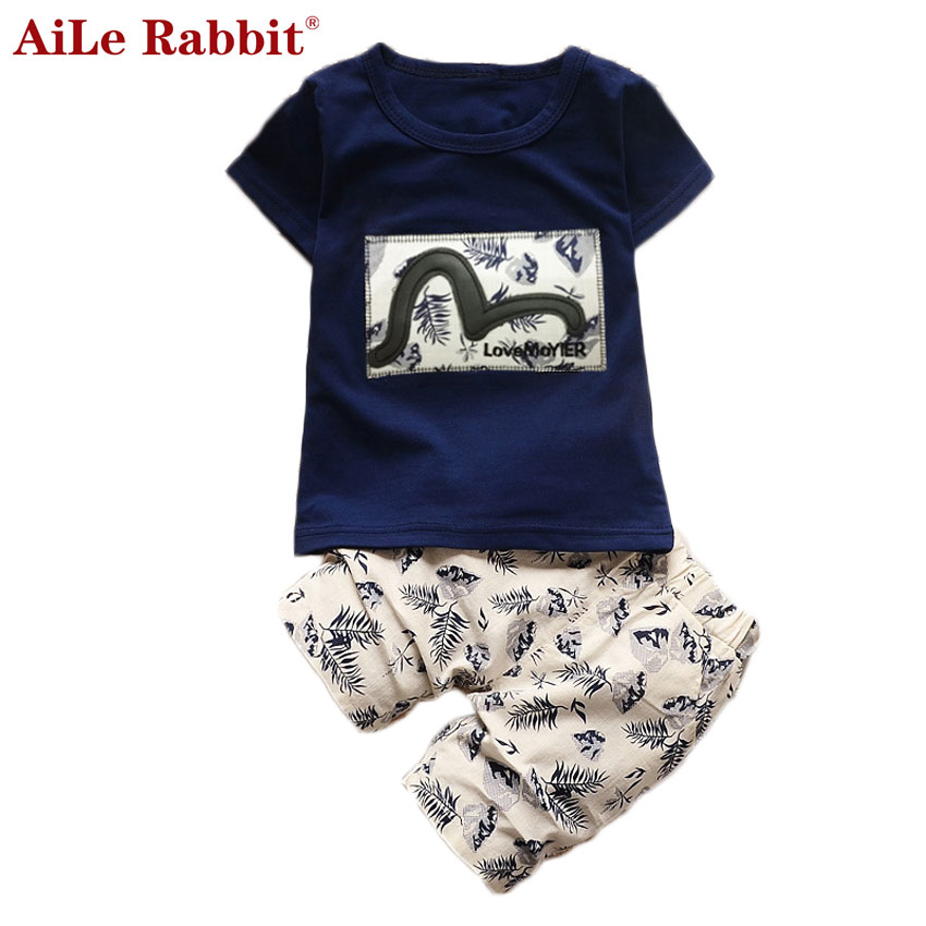 AiLe Rabbit Kid Boys Clothing Sets 2017 Summer Kids Clothes for Boys Fashion t-shirt + pants 2 pcs Baby Boys Toddler Suit