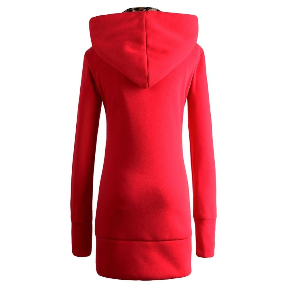 Damen Mode Frauen Langarm große neue Mantel rotes plus Winter Kapuze Leoparden Sweatshirt Samt Sweatshirt Mantel Verdickung TJc3lK5uF1