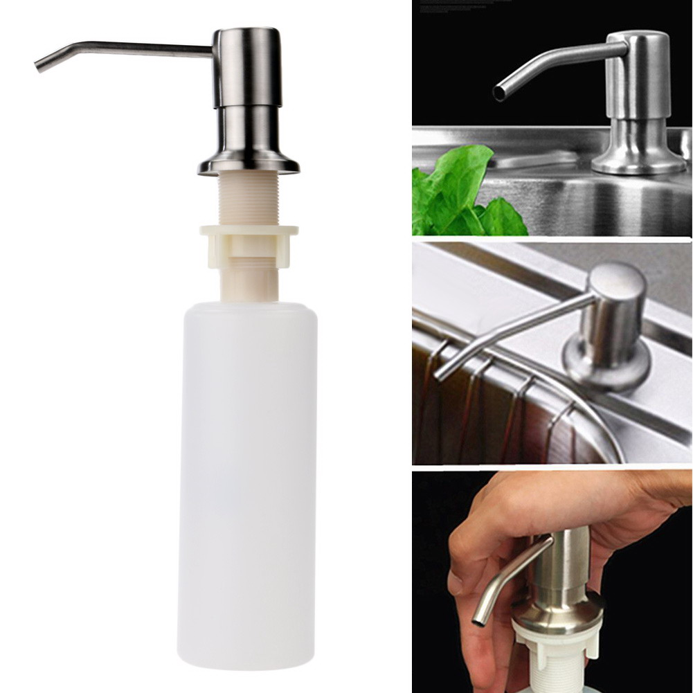 1pcs Kitchen Sink Soap Dispenser Stainless Steel Head ABS Bottle Bathroom Lotion Liquid Soap Dispenser