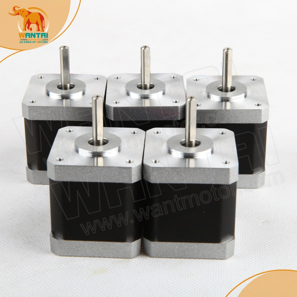 5 PCS Wantai 42BYGHW811P1, flat shafts, Nema 17 Stepper Motor 4800g.cm/70OZ-IN,2.5A , 2 phase Super 3D Printer Stepping motor