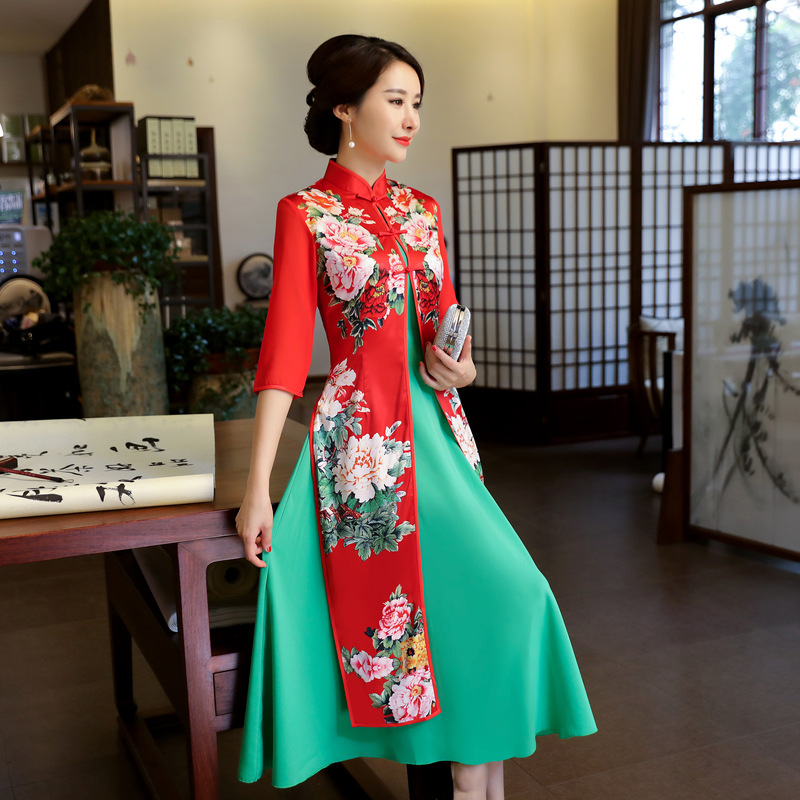 Long Qipao Cheongsams Dress Two Pieces Chinese Traditional Dress Plus Size Summer Flowers Vintage Dress Oriental Robes-in Cheongsams from Novelty & Special Use    3