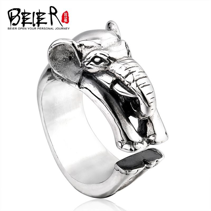 Beier 925 silver sterling jewelry 2015 fashion animal ring simple elephant opening ring D0779 elephant faux gem beaded ring