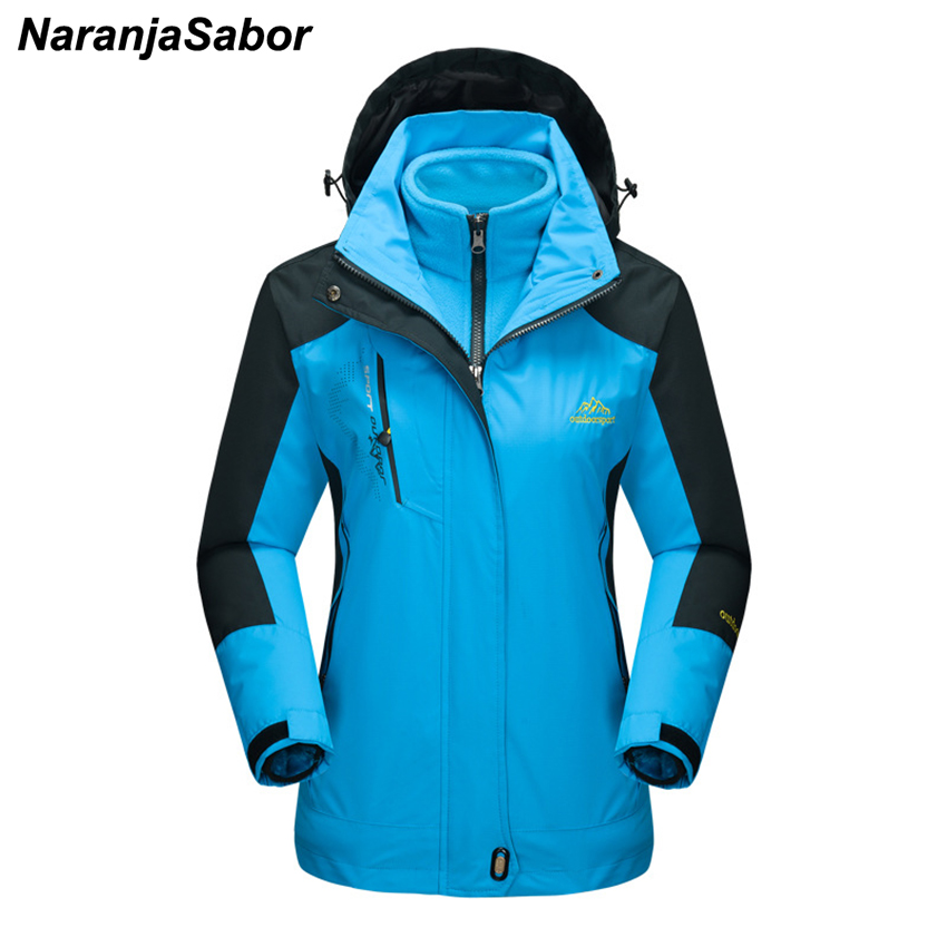 NaranjaSabor 2018 Winter Women's Jackets Waterproof Coats Autumn Windbreaker Female Coat Two-Pieces Set Removable Women Clothing
