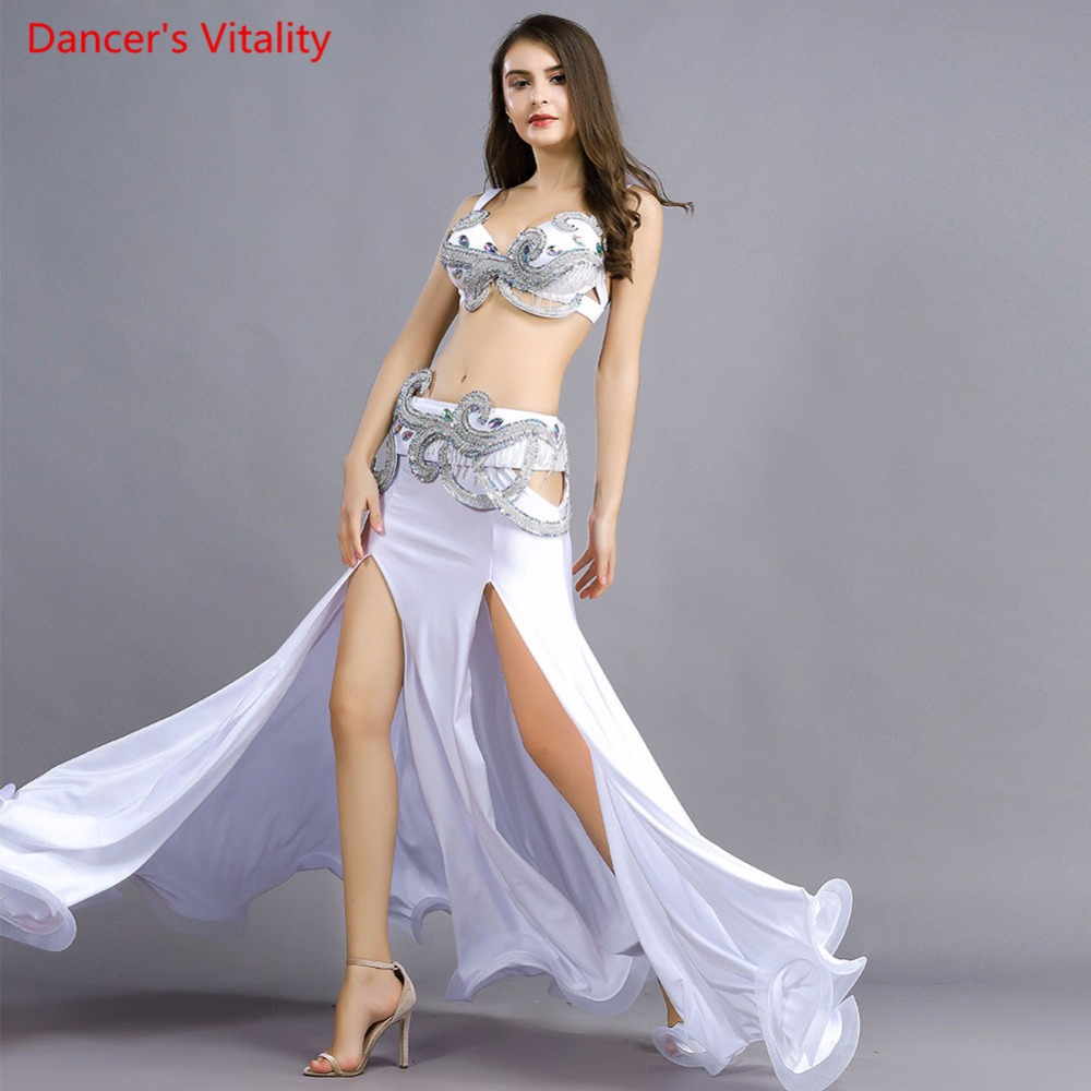 Professional Stage Dance Wear Belly Dance Clothing Oriental Dancing Luxury Sexy Bra Belt Long Skirt 3pcsBelly
