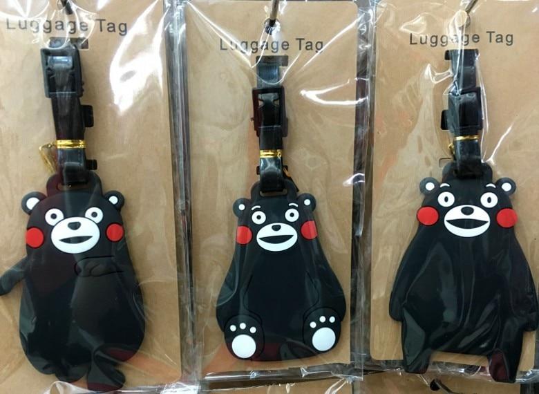 Luggage Tag Travel Accessories Japanese Kumamoto Bear Cartoon Silica Gel Suitcase ID Address Holder Baggage Boarding Tag