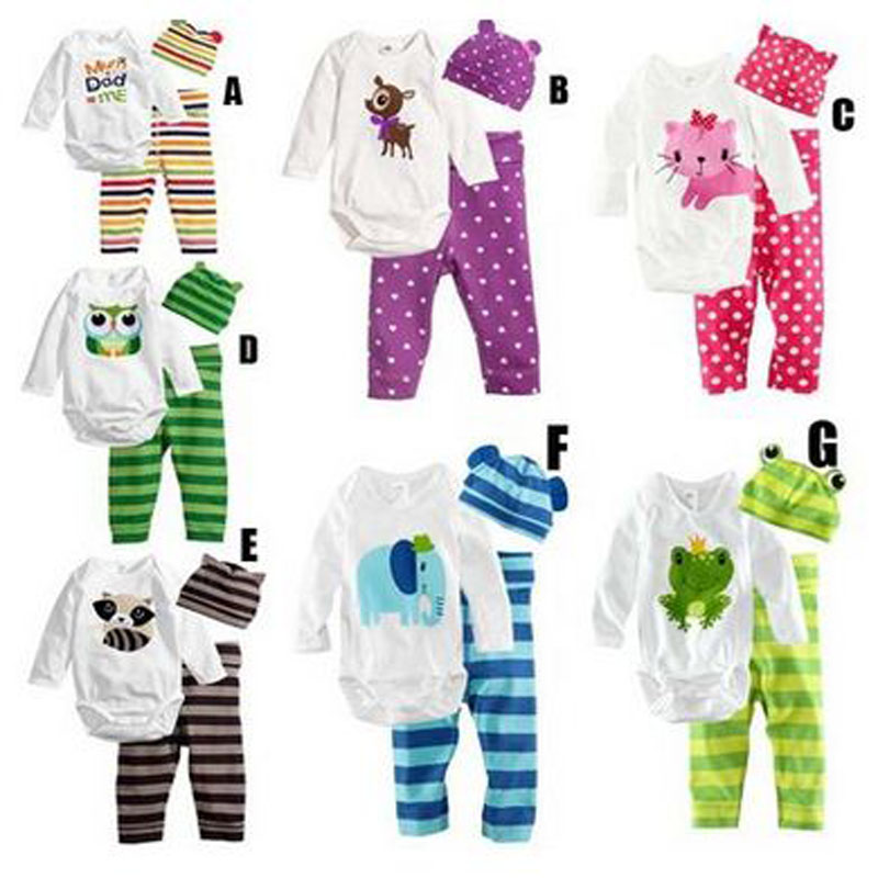 cotton summer infant baby boy clothes cute long sleeve Romper+Hat+Pants Clothing Set Newborn Jumpsuit suits baby girl clothes