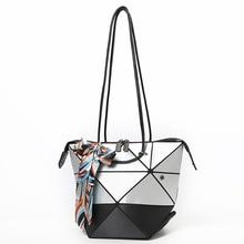 2018 nuevo estilo de Japón mujeres Pathwork geometría Baobao bolsos de espejo plegable bolsas de hombro mujer Casual Tote Bolso