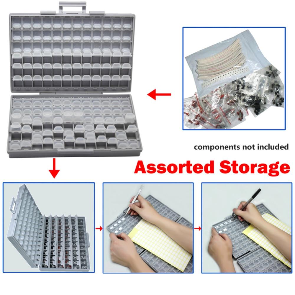 AideTek SMD saugykla SMT rezistorinis kondensatorius Elektronikos - Įrankių laikymas - Nuotrauka 5