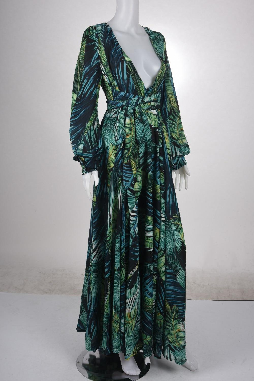 2018 new Women Long Sleeve Dress Tropical Print Vintage Maxi Dresses Boho  Casual V Neck Belt 80593e01bd91