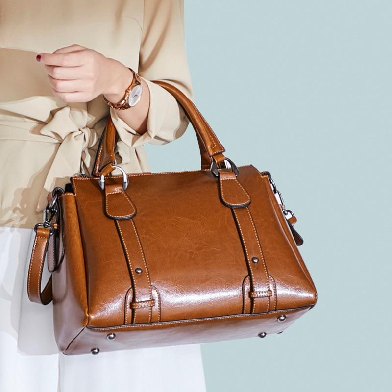 ddf1346cdd0 US $31.55 54% OFF|UYO Vintage Wax Oil Genuine Leather Briefcase Top handle  Luxury Shoulder Bags Designer Female Ladies Handbags Women Tote Bag-in ...
