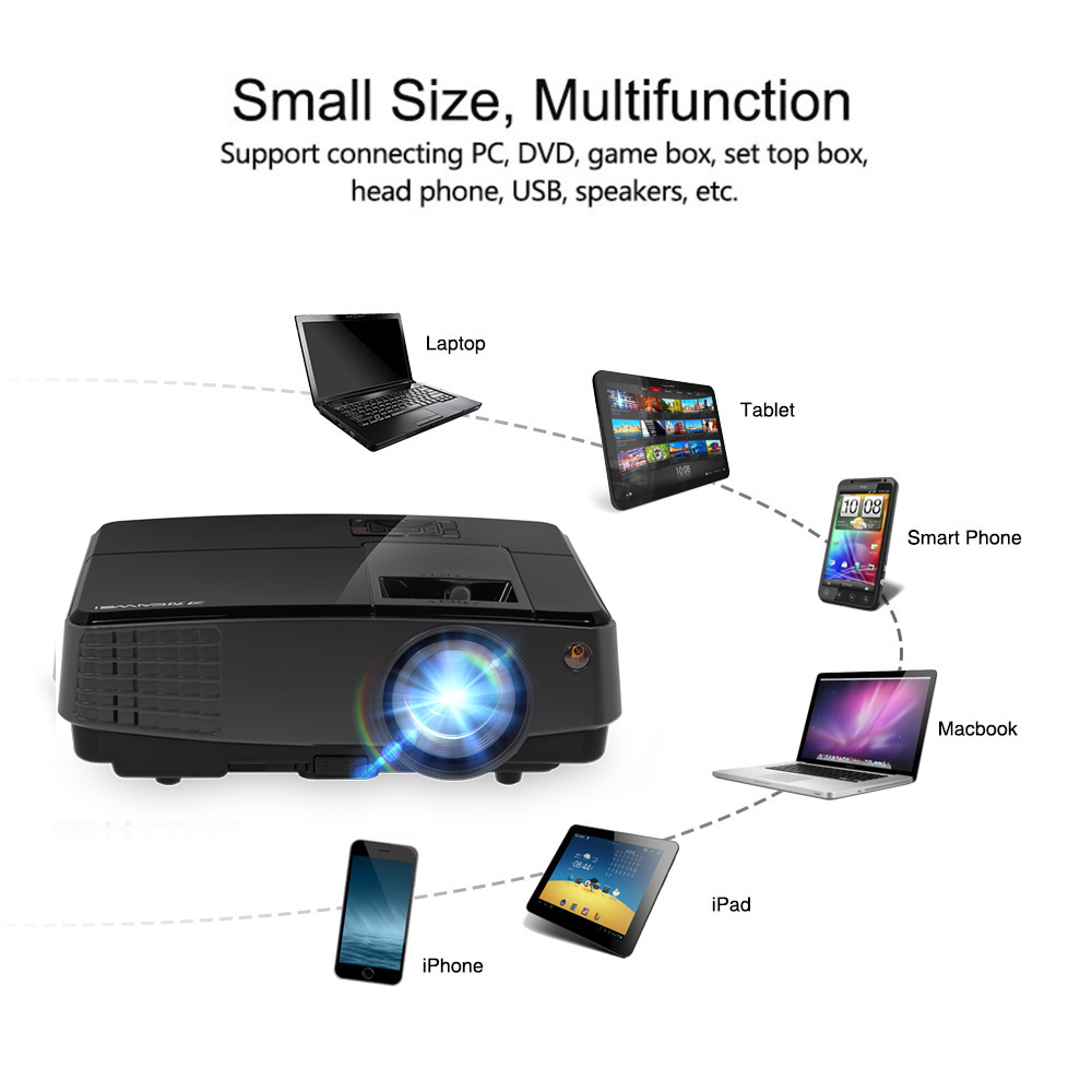 Newest Portable LED Projector Home Theater Bemaer Mobile Full HD Video  Movies HDMI VGA USB For Smartphone TV Laptop