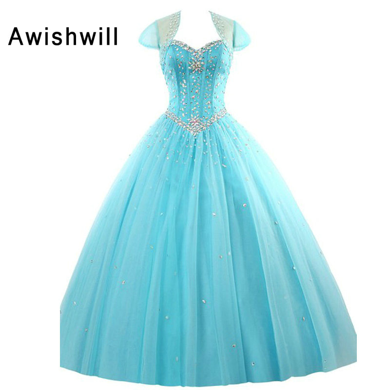 Real Pictures Sweet 16 Dress Ball Gown Beaded Tule Lace-up Back With Bolero Jacket Quinceanera Dresses 2019