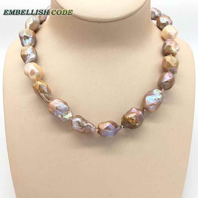 Selling well new kind purple golden pink peach tissue nucleated baroque Irregular Hexagon pearls necklace real natural pearls