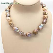 ab5a29f31dfa Vendiendo bien nuevo tipo púrpura oro rosa melocotón tejido nucleated  barroco Irregular hexagonal collar de perlas naturales rea.